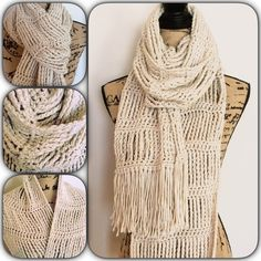 Very long High quality Vanilla Crochet Scarf This scarf is super warm, stylish and cute at the same time! You can wear it so many different ways. And the color is very easy to match with almost anything  handcrafted in California. Like new!  Accessories Scarves & Wraps