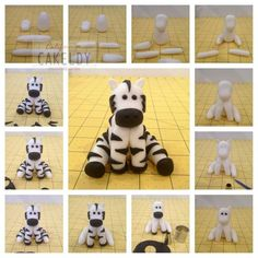 Fondant Zebra Cake Tutorials Animal Figures - For all your cake decorating… Fondant Toppers, Fondant Cupcakes, Cupcake Cakes, Cupcake Toppers, Fondant Bow, Car Cakes, Fondant Flowers, Mini Cakes, Cake Topper Tutorial