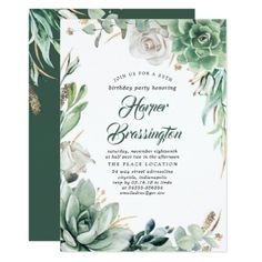 Greenery and Gold Wedding Thank You Card - elegant wedding gifts diy accessories ideas Succulent Wedding Invitations, Purple Invitations, Watercolor Wedding Invitations, Elegant Wedding Invitations, Wedding Stationery, Card Invitation, Wedding Invitation Cards, Bridal Shower Invitations, Wedding Cards