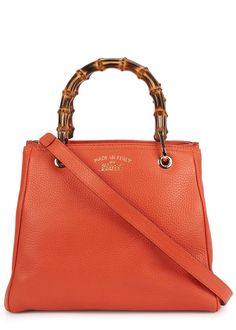 Gucci orange grained leather tote
