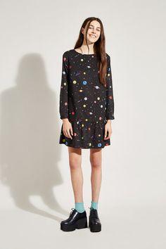 Dropped Peplum Dress Space Print - THE WHITEPEPPER