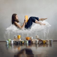 Deep breath - Self portrait on just one more lazy morning by Antonina Bukowska Portrait Photography Men, Minimal Photography, Levitation Photography, Surrealism Photography, Photography Editing, Creative Photography, Children Photography, Morning Photography, Creative Self Portraits
