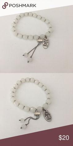 Alex & Ani White Beaded Stretchy Bracelet Perfect, brand new condition. Alex & Ani Jewelry Bracelets