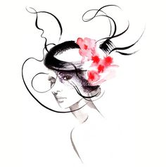 Millinery couture fashion illustration by Katharine Asher