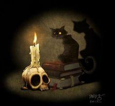 The Black Cat Art Print by Poe Collection Edgar Allan Poe, Halloween Season, Halloween Cat, Vintage Halloween, Fantasy Kunst, Fantasy Art, Black Cat Art, Black Cats, Cat Art Print