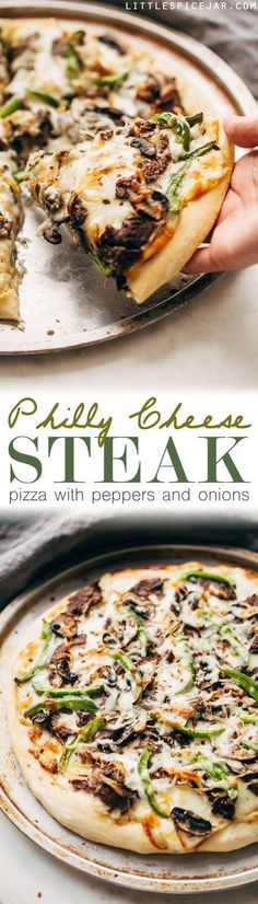 Philly Cheese Steak Pizza - Change up your Friday night pizza routine with a homemade Philly cheese steak pizza! Loaded with tons of veggies and meat, it's sure to be a crowd-pleaser! #pizza #phillycheesesteakpizza #steakpizza | http://Littlespicejar.com