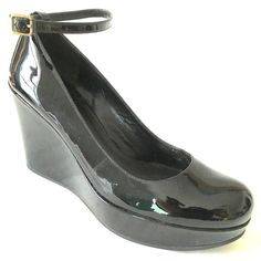 MARC BY MARC JACOBS Platform Wedge Patent Leather Black Ankle Strap Pump 36 6 #MarcbyMarcJacobs #PlatformsWedges #Party