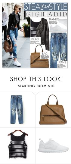 """""""#25 Steal Her Style: Gigi Hadid"""" by hafsahshead ❤ liked on Polyvore featuring Givenchy, NIKE and H&M"""