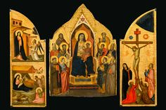 Taddeo Gaddi, Madonna and Child Enthroned with Ten Saints: Maestà with the inner shutters (sportelli) from a triptych: Annunciation and Nativity; Crucifixion, ca. 1330–34. Tempera, gesso, gold leaf and traces of silver on panel. New-York Historical Society, Gift of Thomas Jefferson Bryan; The Alana Collection.