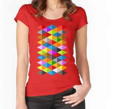 Modern bright funky colorful triangles pattern Women's Fitted Scoop T-Shirt by #PLdesign #geometric #modern #ColorfulTriangles #redbubble