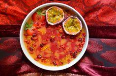 Papaya, mango and raspberry smoothie bowl from rawberryfields.co.uk