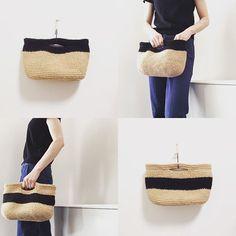 黒いバッグ! #麻ひもバッグ#クラッチバッグ#黒#ブラック#モノトーン#シック#シンプル#コーディネート#かご#フレンチ#雰囲気
