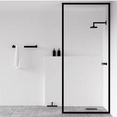 tidy modern black and white bathroom