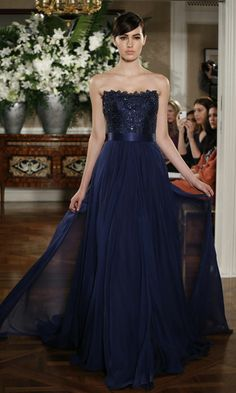 bark blue bridesmaid dresses...love that they get a train too!