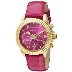 Invicta Women's 18485 Pro Diver 18k Gold Ion-Plated Watch with Fuchsia... ($56) ❤ liked on Polyvore featuring jewelry, watches, gold jewelry, water resistant watches, yellow gold watches, bezel watches and 18k gold jewelry