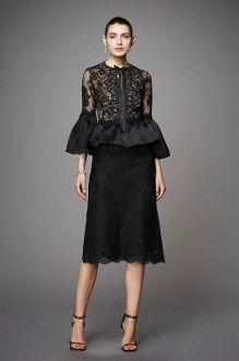 Marchesa Couture Black Corded Lace Peplum Cocktail Dress M18404