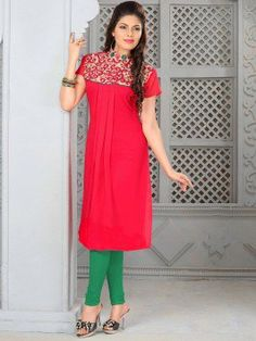Red Georgette Kurti With Embroidery Work