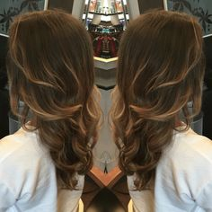 Blended brown and blonde balayage