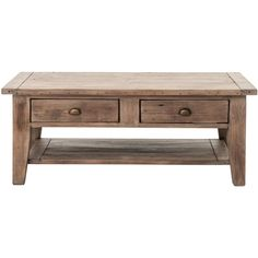 Abram Rustic Lodge Sun Dried Ash Two Drawer Coffee Table ($888) ❤ liked on Polyvore featuring home, furniture, tables, accent tables, ash table, ash wood furniture, shelf table, shelf furniture and shelves furniture