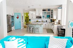 Aqua and White kitchen from the family room