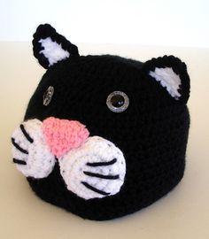 Black Kitty Cat Childrens Crochet Hat by AllKindsofArt on Etsy