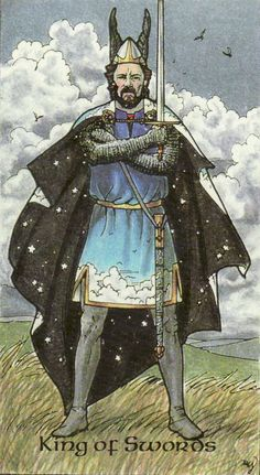 The King of Swords, from the Robin Wood Tarot by Robin Wood. https://lifeofhimm.wordpress.com/2015/06/16/todays-tarot-king-of-swords-a-mindful-approach/