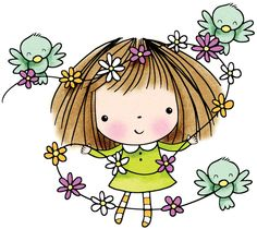 Girl with Birds and Flower Garland