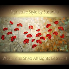 ORIGINAL Large Abstract Brown Blue Red Poppies by ModernHouseArt, $345.00