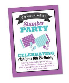 Slumber Party Invitation - Birthday Party Invite - Sleepover Invitation - DIY PRINTABLE Digital File