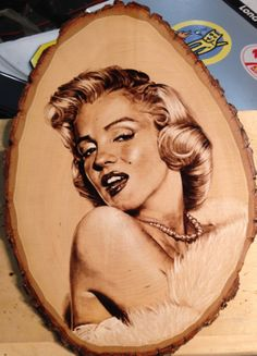 9x12 Marilyn Monroe pyrograph on a basswood plaque.