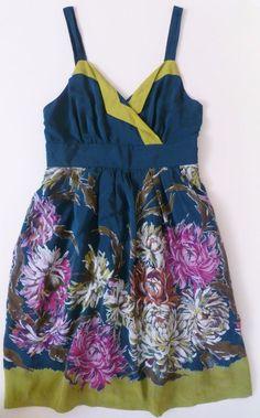 ANTHROPOLOGIE Maeve Dress Impressionist's Dream 0P Petite 100% Silk Teal Floral #Anthropologie