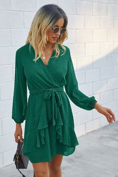 Swiss Dot Ruffle Hem Dress - Blackish Green / M