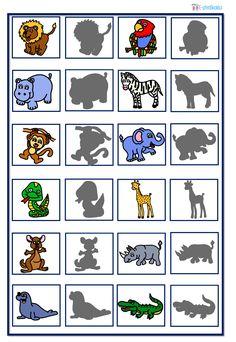 Pexeso - zvířata ze zoo Zoo Animals, Safari, Kindergarten, Preschool, Comics, Cards, Montessori, Ideas, Animals