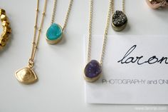 Small Druzy Gold Necklace in Turquoise Amethyst by laronje on Etsy