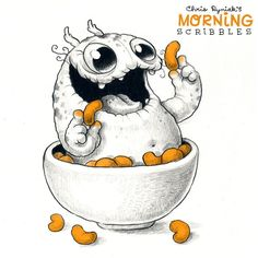 "Cute art by Chris Ryniak (@chrisryniak) on Instagram: ""Cheese Puffs! ☁️ #morningscribbles"""