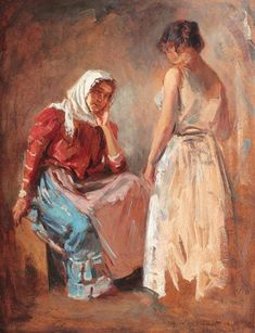 Gypsy Women Talking, 1910 by Nicolae Vermont. Impressionism, Realism. genre painting. Private Collection
