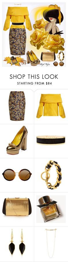 """""""Elegance in gold"""" by lamipaz ❤ liked on Polyvore featuring Prada, Rosie Assoulin, Charlotte Olympia, Balmain, Chanel, Nina Ricci, Burberry, Isabel Marant and STELLA McCARTNEY"""