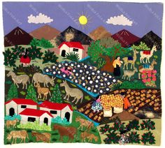 Village Arpillera - World Folk Art - Find Stained Gourds, Metal Wall Hangings, and more