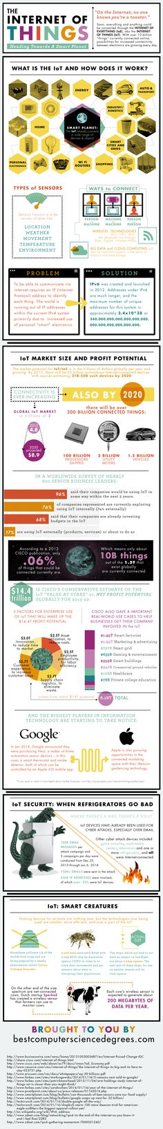 The Internet of Things (IoT) explained quickly by infographic. Image courtesy of Best Computer Science Degrees Big Data, Quantified Self, Data Science, Computer Science, Computer Programming, It Management, Connect Online, Cloud Computing, Information Technology