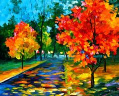 """FLAME OF AUTUMN — PALETTE KNIFE Oil Painting On Canvas By Leonid Afremov - Size 36""""X30"""""""