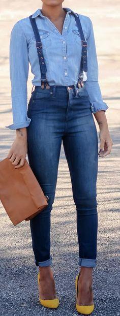 Denim + denim.  Denim jeans with suspenders, denim top, yellow heels