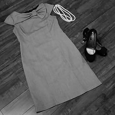 Grey dress Adorable size 6 dress from Dressbarn.   Mad Men 60's style with bow at neck, zipper back and kick pleat.  Perfect for the office or out to dinner. Dress Barn Dresses