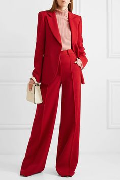 Victoria beckham wool wide leg pants stylish ethnic man in red suit by javier dez for stocksy united Suit Fashion, 80s Fashion, Look Fashion, Fashion Outfits, Fashion Scarves, Womens Fashion, Red Pantsuit, Mode Ootd, Pantsuits For Women