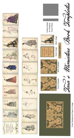 "Revised Free Miniature Book Template for a 1.5"" dollhouse book of Costume Designs for ""Captain Jinks of the Horse Marines"" in 1901.  Fixes the typo in the earlier template."
