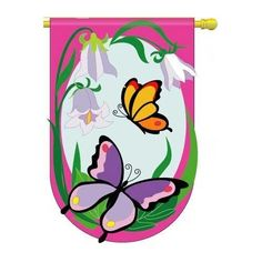 """Butterflies Flag Indoor/Outdoor 28"""" x 44"""" by Two Group. $18.99. Appliqued and Embroidered Banner Flag. 100% Polyester. 28"""" x 44"""" with Pole Hem and Attachment Tabs. This high quality appliqued and embroidered banner is made of 100% polyester. Measures approximately 28"""" x 44"""" with a pole hem and attachment tabs.. Save 17% Off!"""