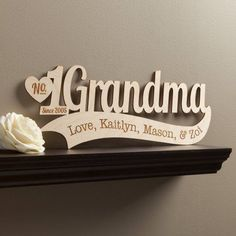 Show Grandma how loved she is with this sentimental wood plaque. Shipping note: This item will be personalized just for you. Allow extra time for your special find to ship. Router Projects, Woodworking Projects That Sell, Woodworking Toys, Unique Mothers Day Gifts, Mothers Day Crafts, Wood Cnc Machine, Wood Shop Projects, Teacher Signs, Wood Plaques
