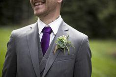 purple tie, gray suit and green succulent boutonniere Rustic Purple Wedding, Grey Suit Wedding, Wedding Wear, Green Wedding, Wedding Attire, Wedding Colors, Wedding Groom, Wedding Dresses, Wedding Bells
