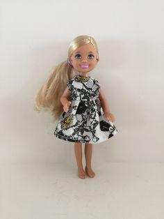 Barbie Doll My Scene Chelsea Doll/'s Halter Dress Vintage Floral Print Outfit