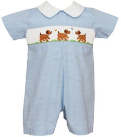 95a263cf5 Light blue mini check straight bubble for baby boys with smocked puppy dogs  and collar.