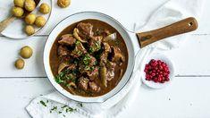 Sosekjøtt - Kjøtt i mørke | Oppskrift - MatPrat Eating Well, Curry, Beef, Ethnic Recipes, Food, Meat, Curries, Eat Right, Essen